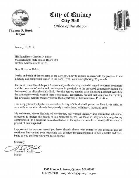 Mayor Koch's Letter to Governor Baker