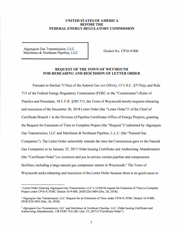 TOWN OF WEYMOUTH REQUEST FOR REHEARING