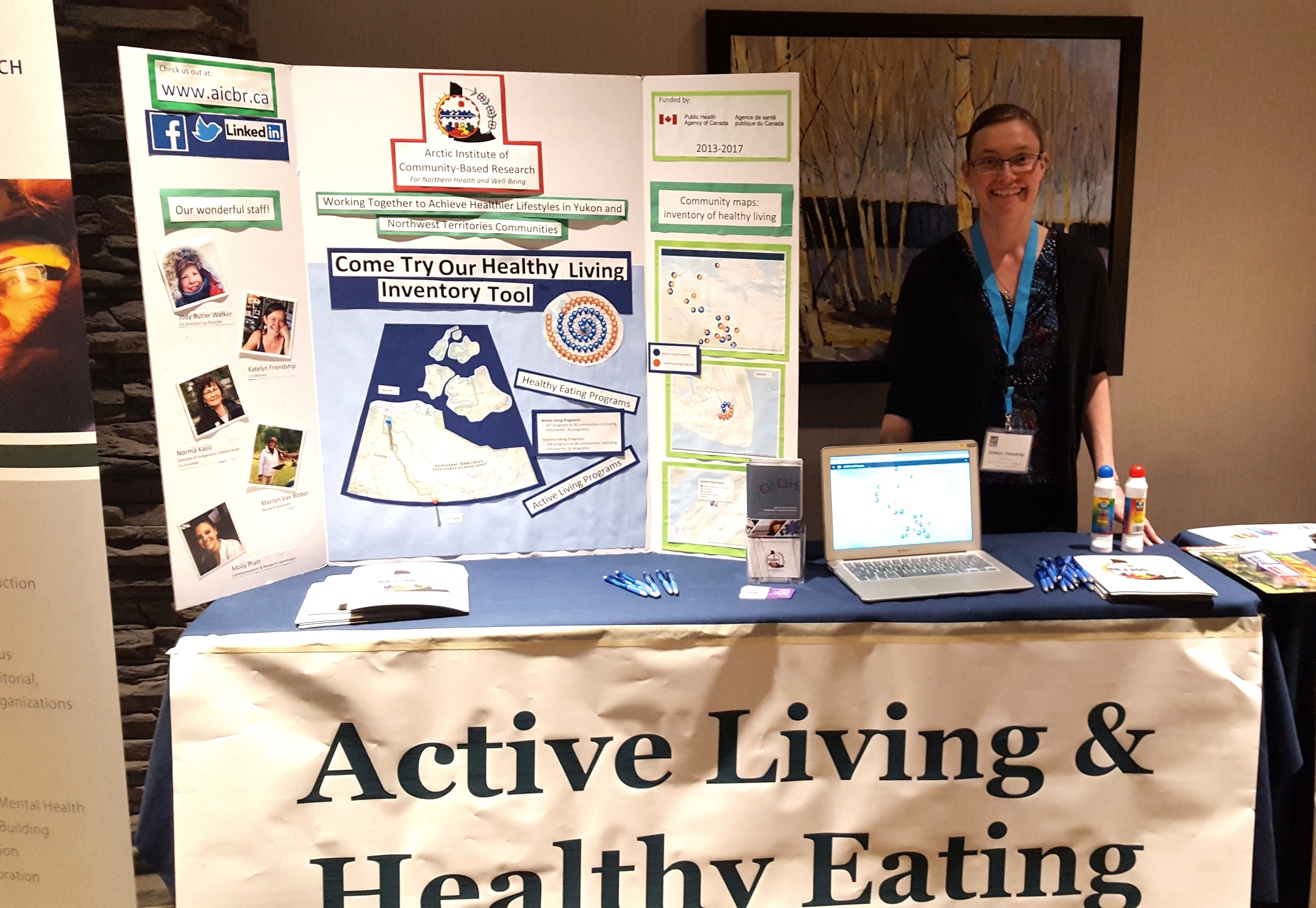 Katelyn Friendship, Co-Director,at NWT Association of Communities' Health Fair May 5th, 2016 showcasing the Inventory Map to municipal leaders across the Northwest Territories.