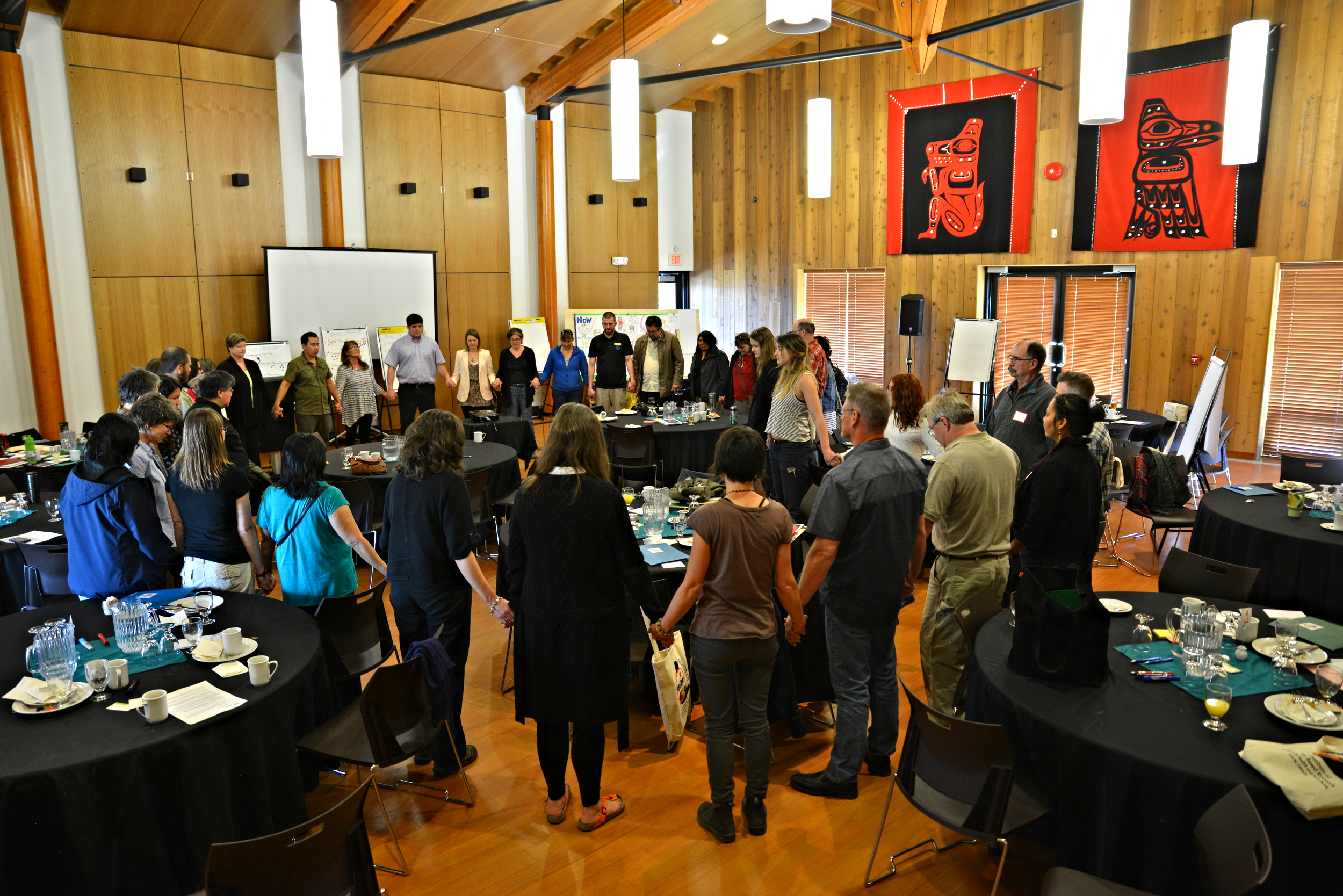 Kwanlin Dün First Nation Councillor Sean Smith leads a powerful Closing Ceremony at the Yukon Food Security Roundtable, May 19th, 2016.