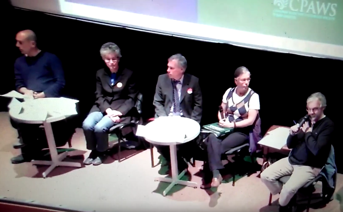 ( From Left ): Danny Macdonald (Yukon Party), Liz Hanson (NDP), John Streicker (Liberals), Kristina Calhoun (Green Party), and Dave White (CBC, Moderator) at the All-Party Election Forum on the Environment, Tuesday, October 18th.