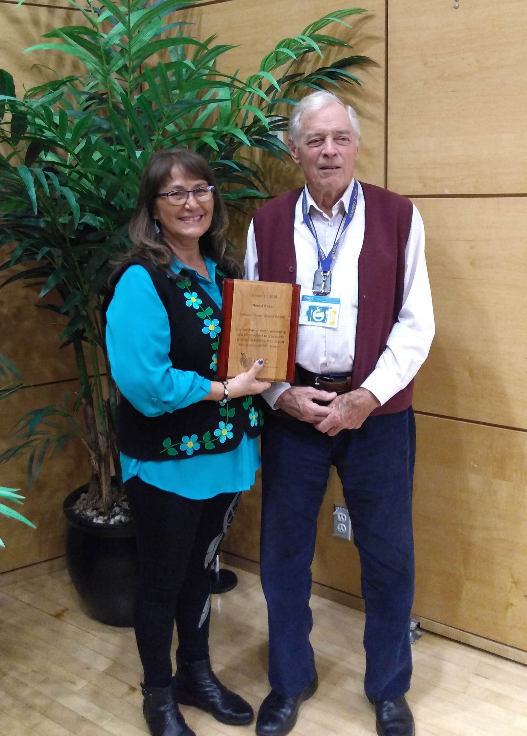 ( Above, from left):  Norma pictured here with the late Cathleen Kneen's husband, Brewster Kneen after receiving her award.