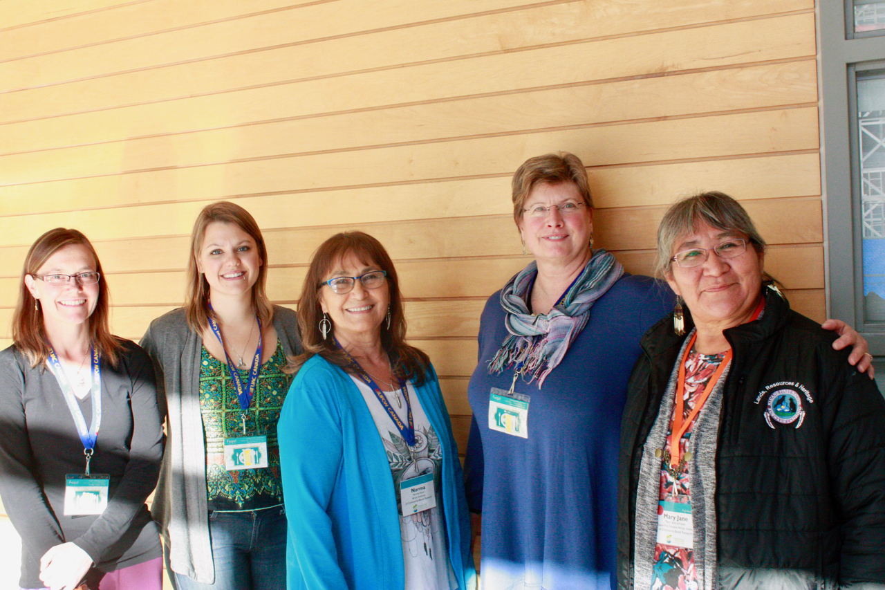 Some of the AICBR team and board at Food Secure Canada's 9th National Assembly in Toronto, Oct 2016.  (From left ): Katelyn Friendship, Molly Pratt,Norma Kassi,Jody Butler Walker, and board member Mary Jane Johnson;  (Missing from photo ): Marilyn Van Bibber and Beverly Baker.