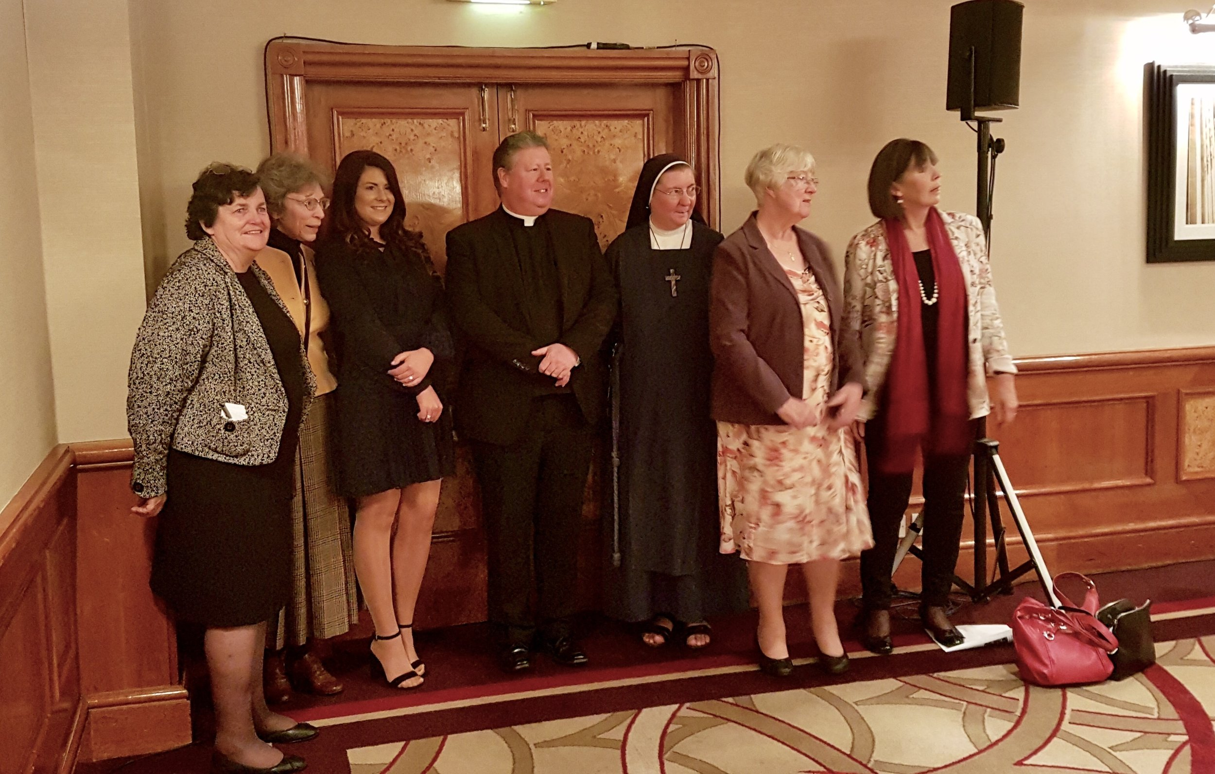 L-R: Patti Fordyce, Chairman; Dr Caroline Farey, Catherine MacMillan, Catholic Women of the Year; Father Dominic Allain, Grief to Grace; Sister Jane Louise, Dr Olive Duddy, Catholic Women of the Year; Clare Asquith, Keynote Speaker.