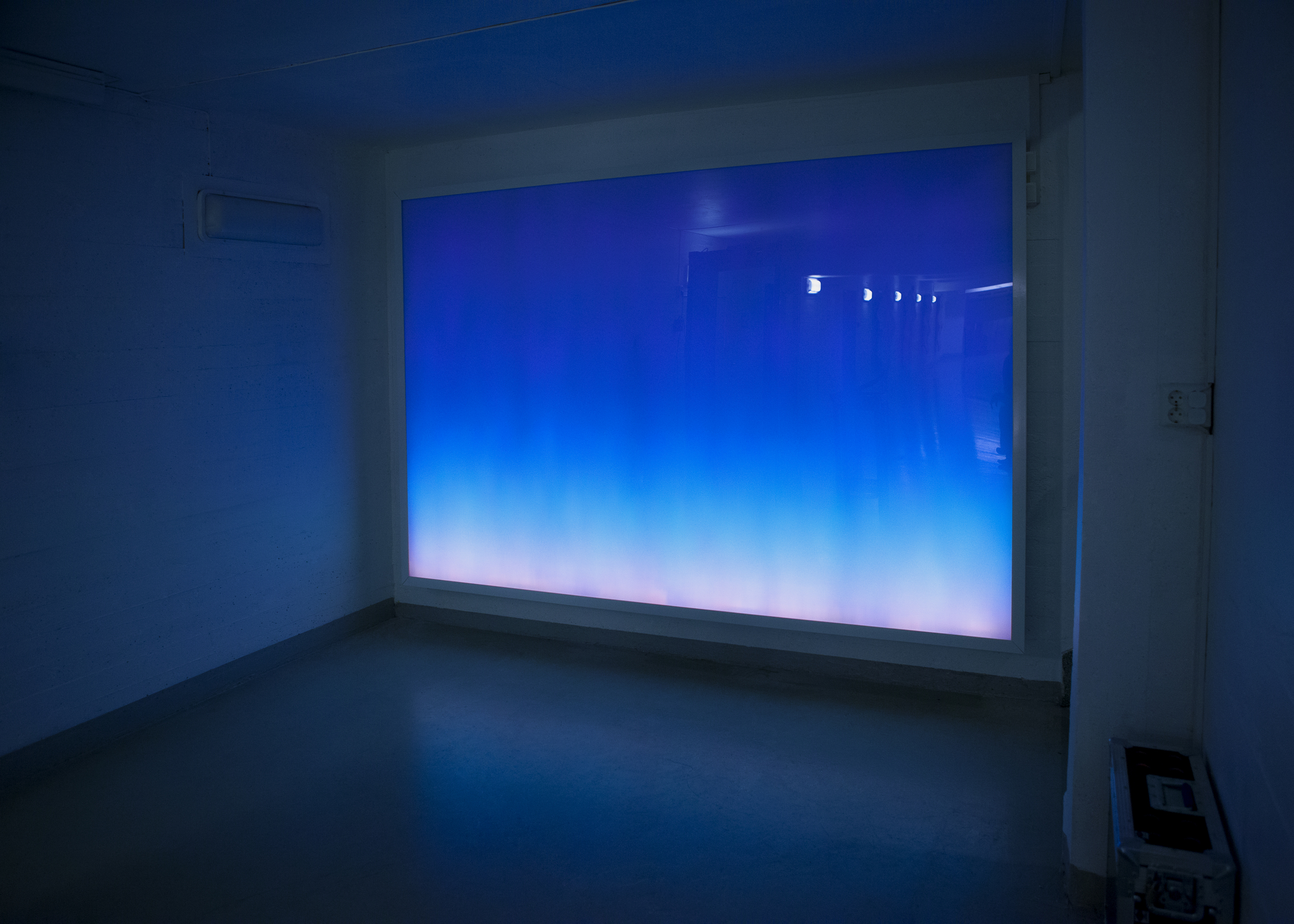 Horizon . Ila Prison, 2011. Light mode: Wednesday morning. Programmed light box with LED screen, aluminum case with acrylic and Lexan fronts, 200 x 300 x 30 cm.