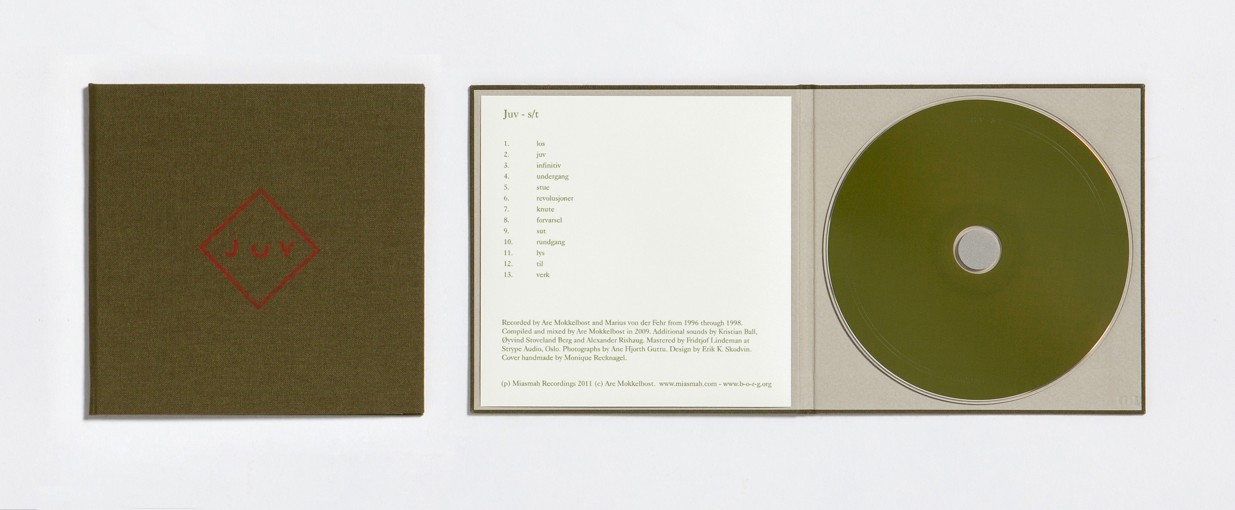 Edition of 100 CDs on  Sonic Pieces , with book bound sleeve and silk-screened front, hand made by Monique Recknagel. Design by Erik Knive Skodvin.