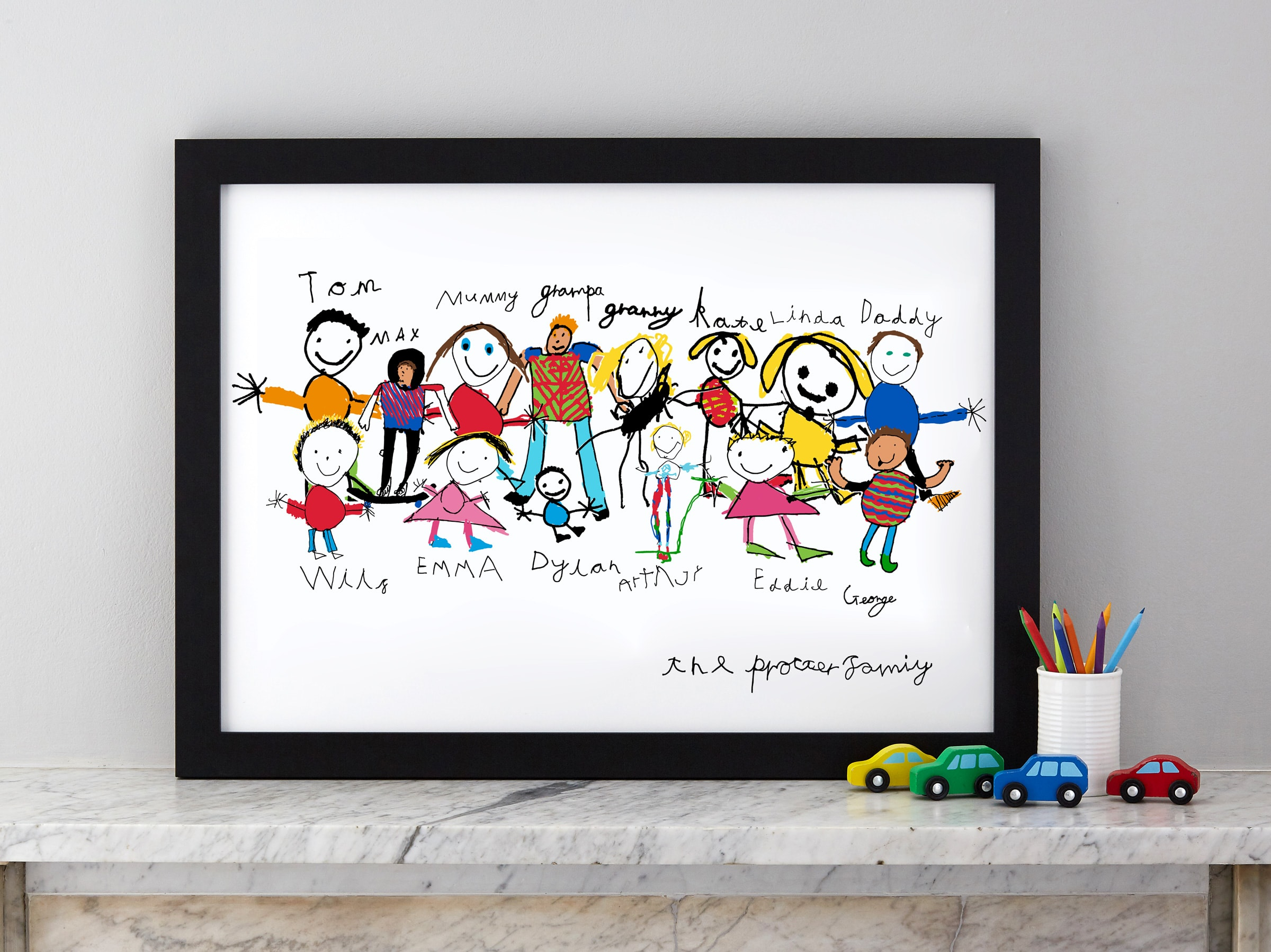 Family portrait drawn by your own child. Example shows 50 x 70 cm print (5 people)