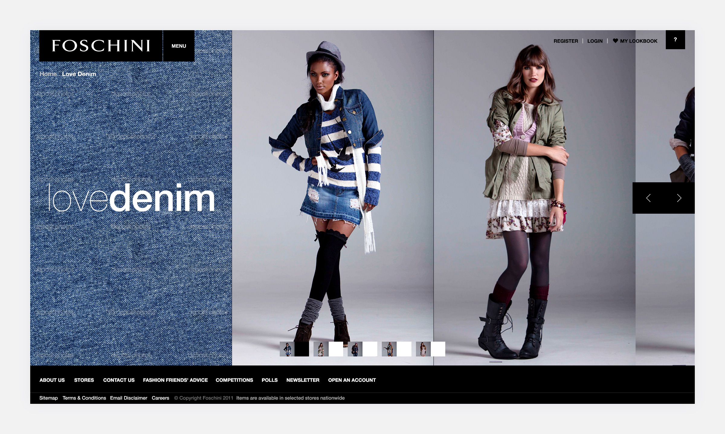 - The THeme detail Page featuring a number of Looks