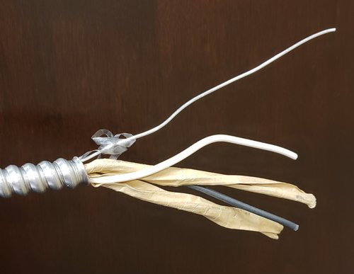 AC - with bare #16AWG equipment grounding conductor (bonding conductor) - photo courtesy of Paul Abernathy - https://www.masterthenec.com