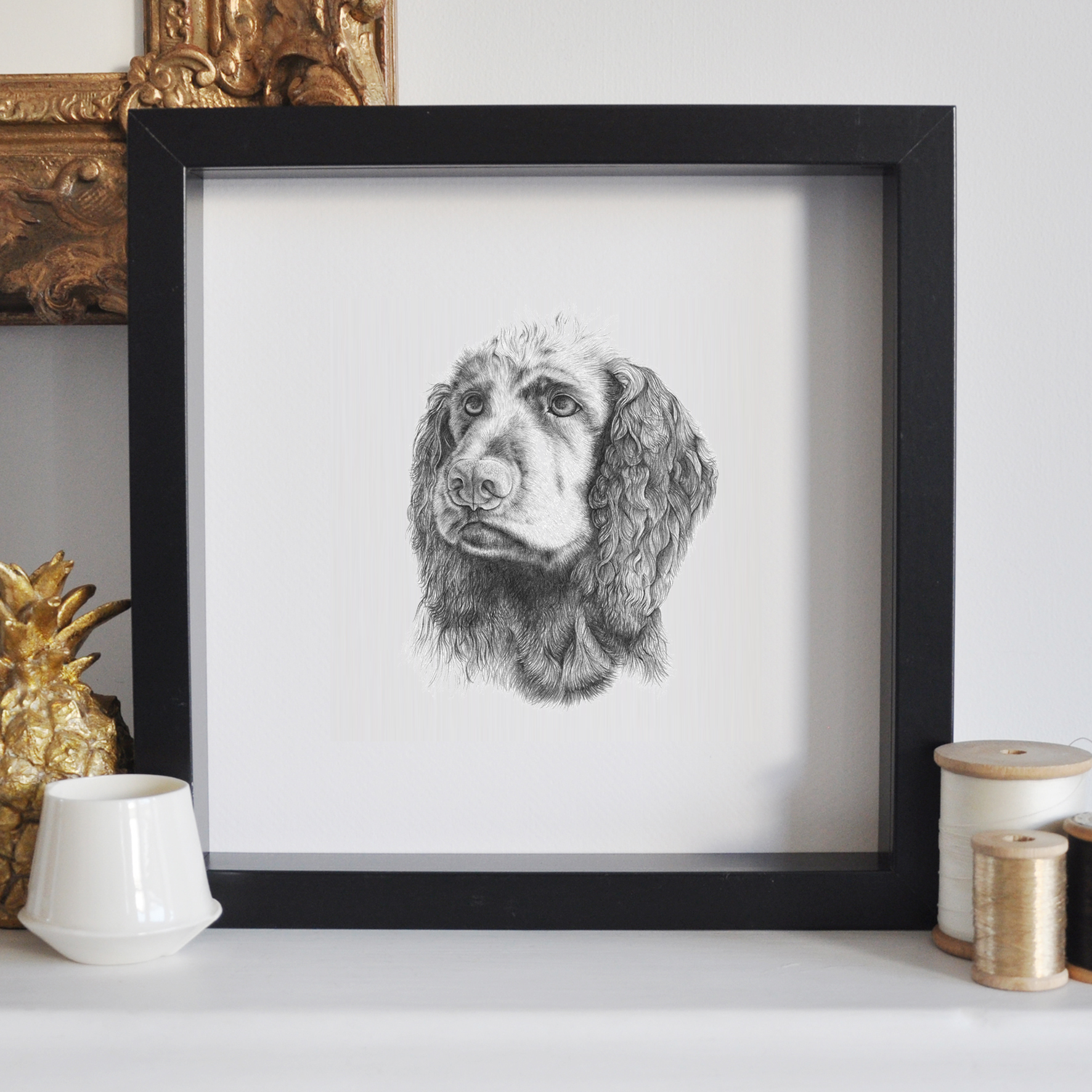 Bingley - The cocker spaniel. 10x10cm
