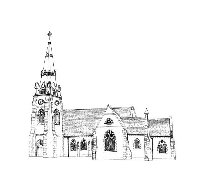 A church line drawing is perfect for the order of service and to remember your wedding ceremony.