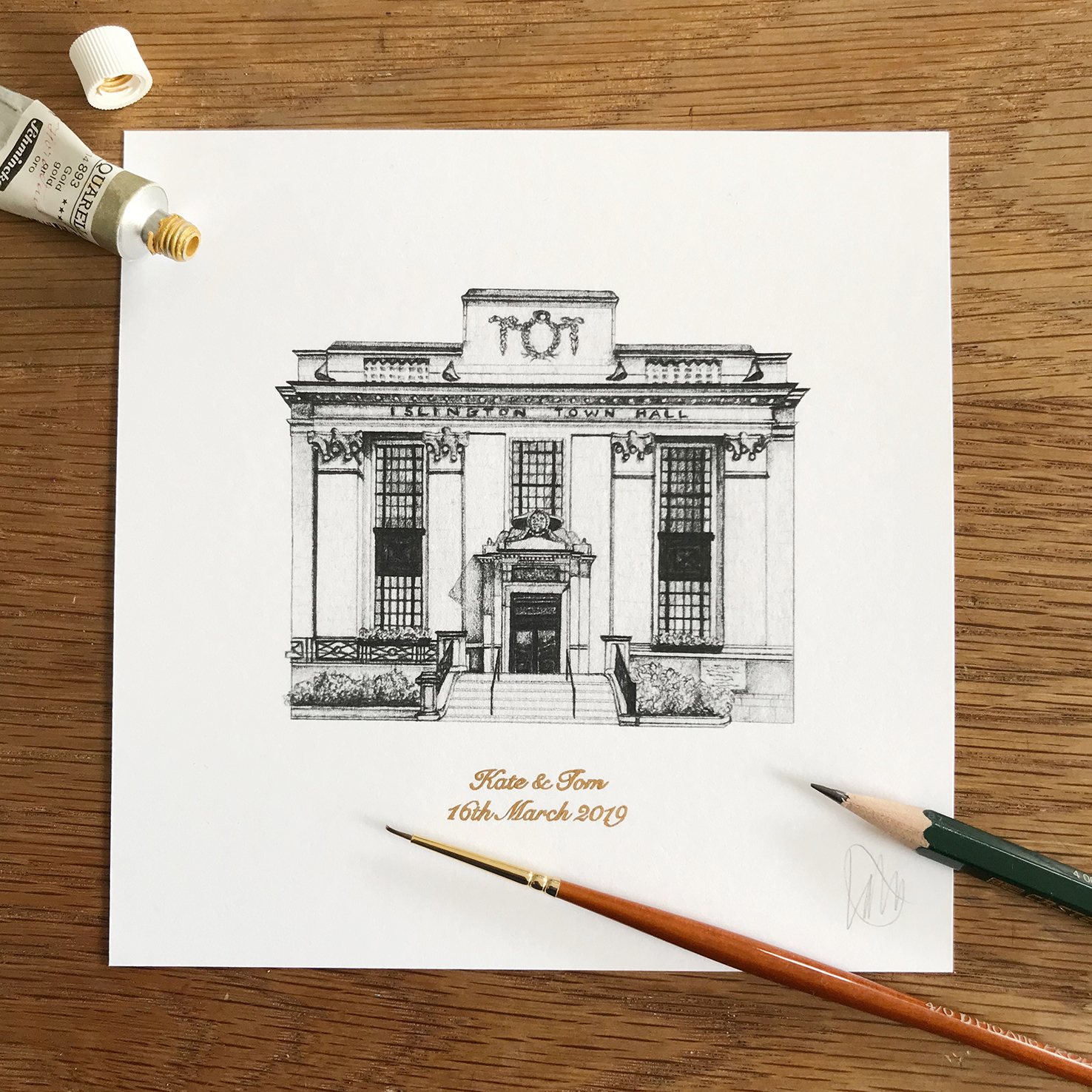 Personalised Islington Town Hall Print from £32