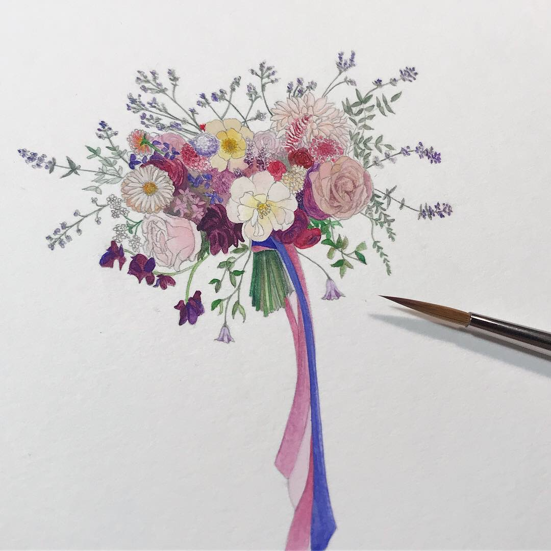 Bride's bouquets painted especially for you.
