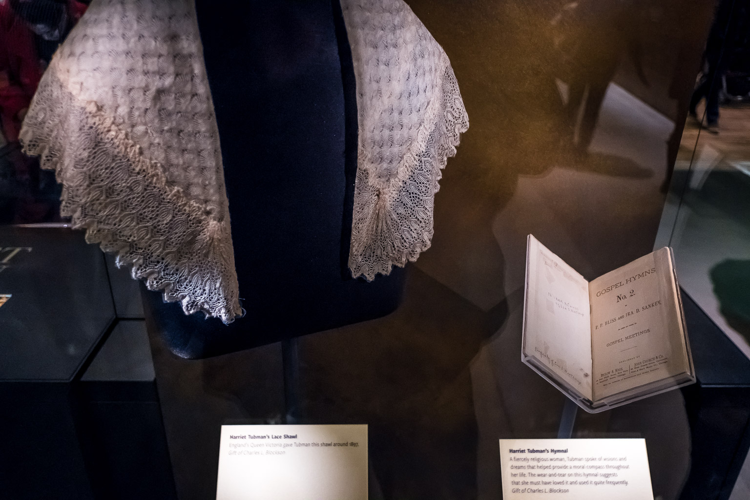 England's Queen Victoria gave Tubman this shawl around 1897. Gift of Charles L. Blockson   Harriet Tubman's Hymnal  A fiercely religious woman, Tubman spoke of visions and dreams that helped provide a moral compass throughout her life. The wear-and-tear on this hymnal suggests that she must have loved it and used it quite frequently. Gift of Charles L. Blockson