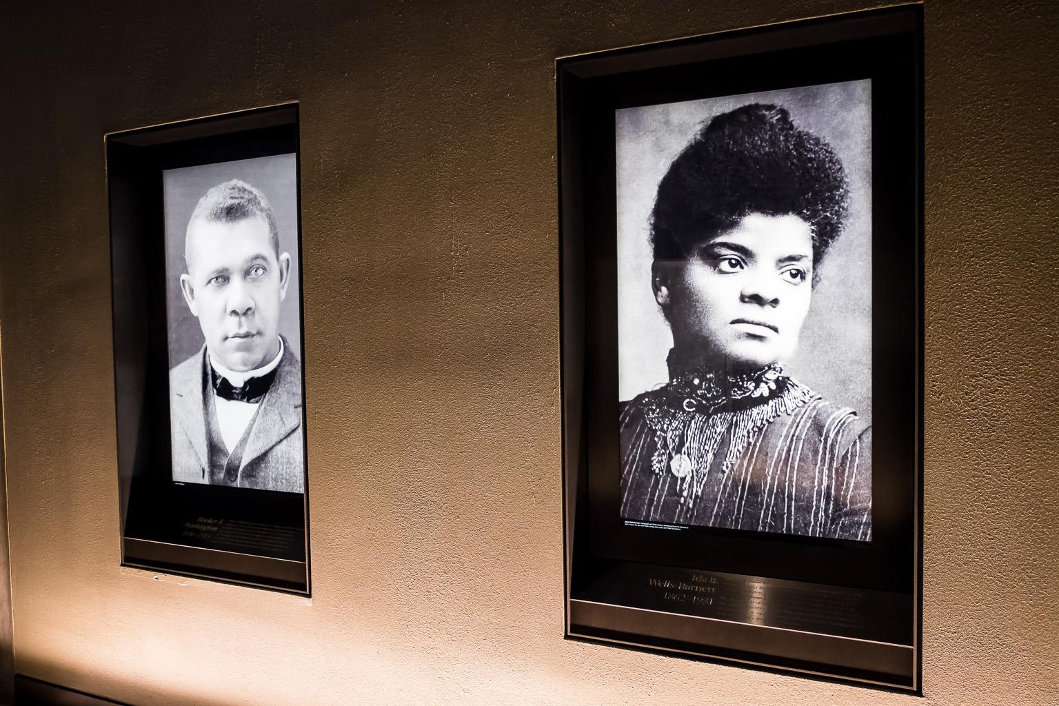 Left to right: Booker T. Washington, Ida B. Wells.