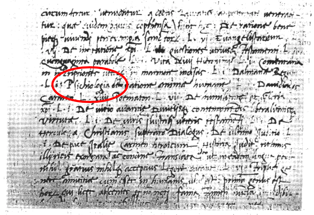 The first known use of the word   psichologia