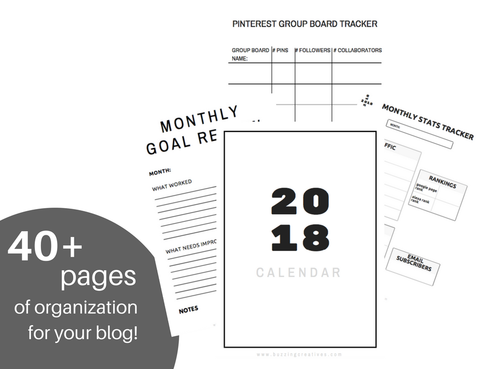 buzzing creatives 2018 calendar and blogging planner
