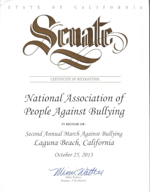 Senator Mimi Walters recognizes the National Association of People Against Bullying for raising awareness about bullying.