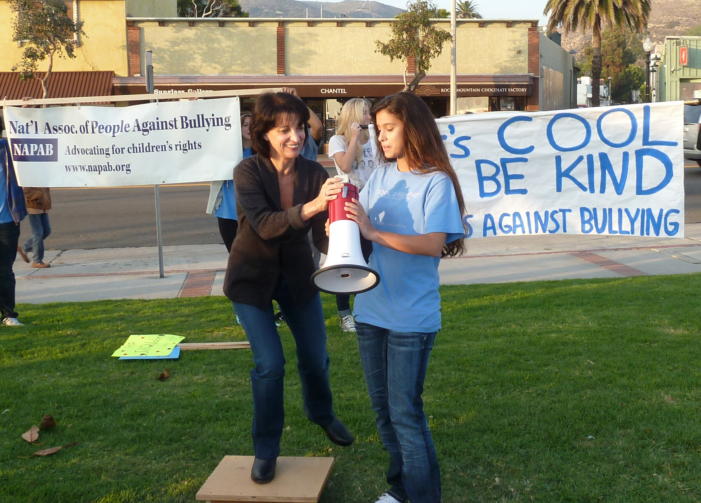 Mom and Victoria bullhorn.jpg