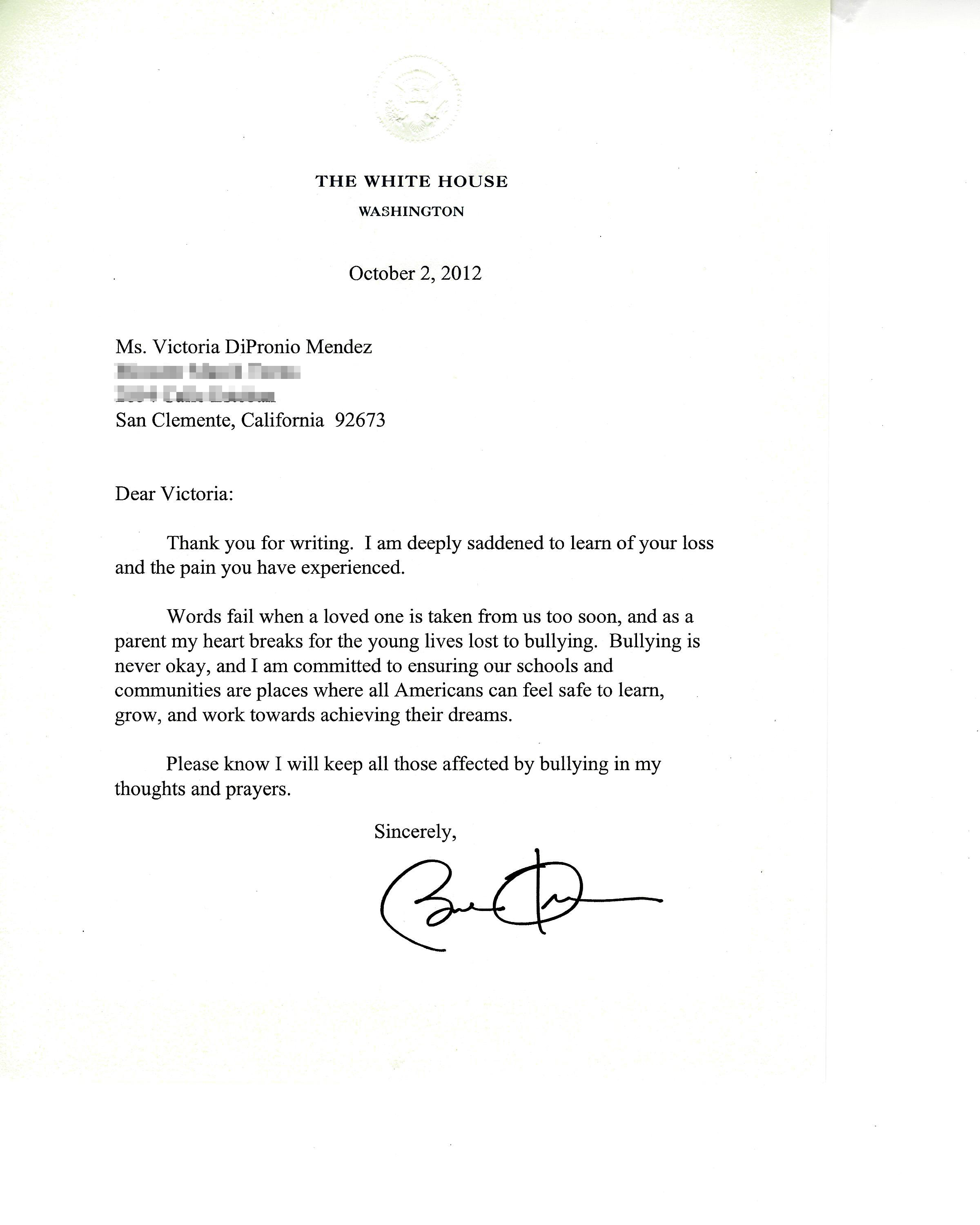 President Obama writes to Victoria Mendez, committing to support of the anti-bullying movement.