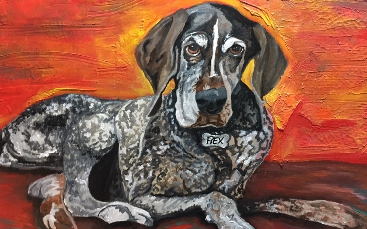 """In Memory of Rex- Acrylic Paints & Mediums on 16"""" x 20"""" Canvas"""