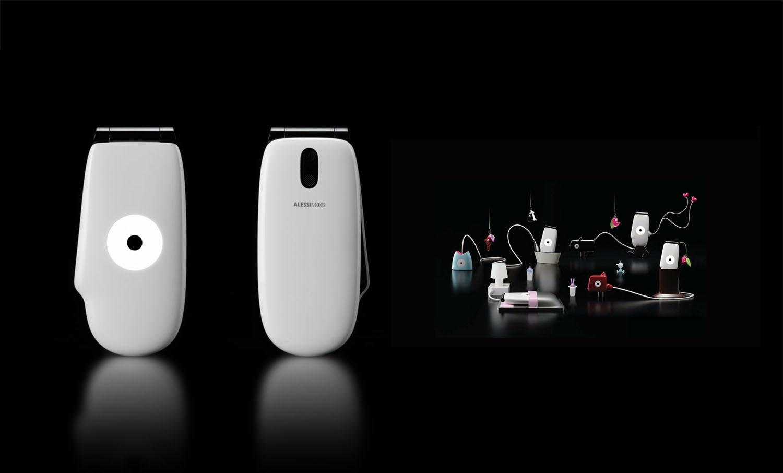 Alessimob, mobile phone. Giovannoni Design for Alessi / KDDI.