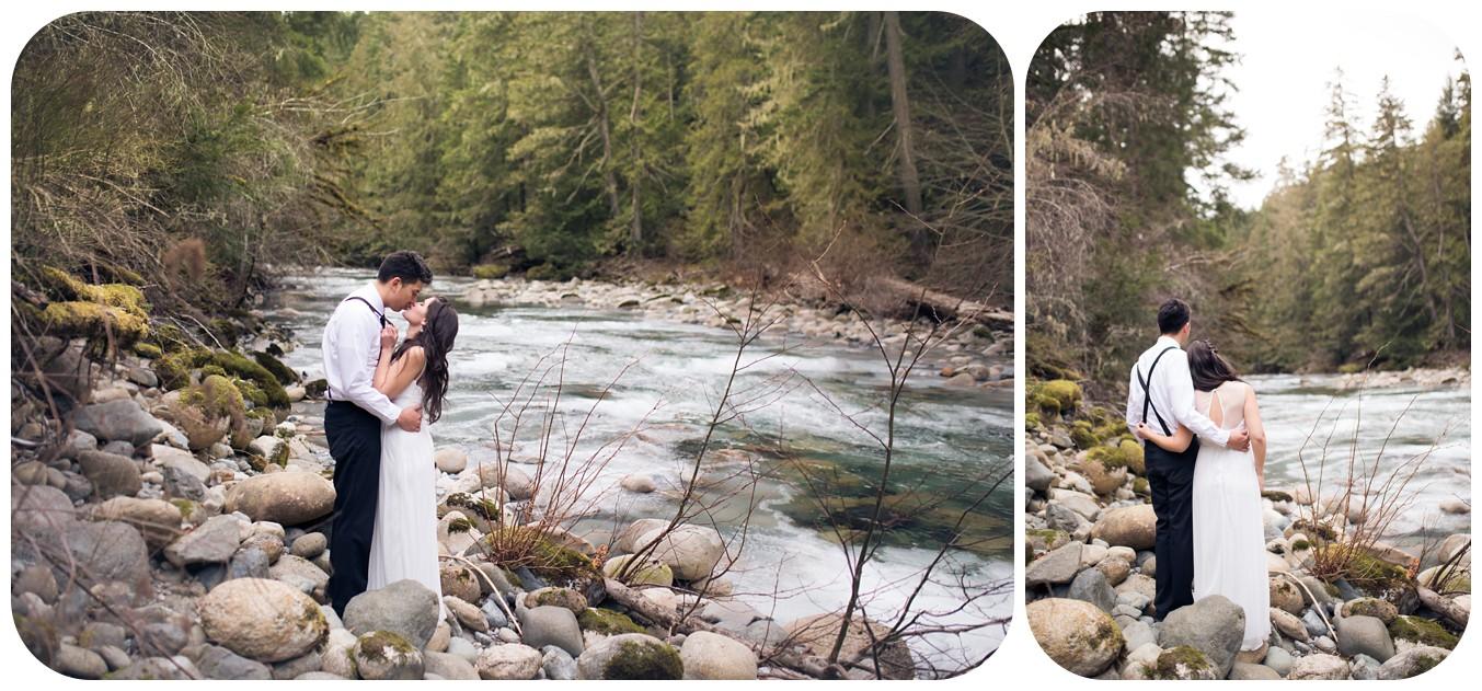 Playful wedding photos, romantic wedding photographer, whimsical wedding photographer vancouver island, englishman river elopement