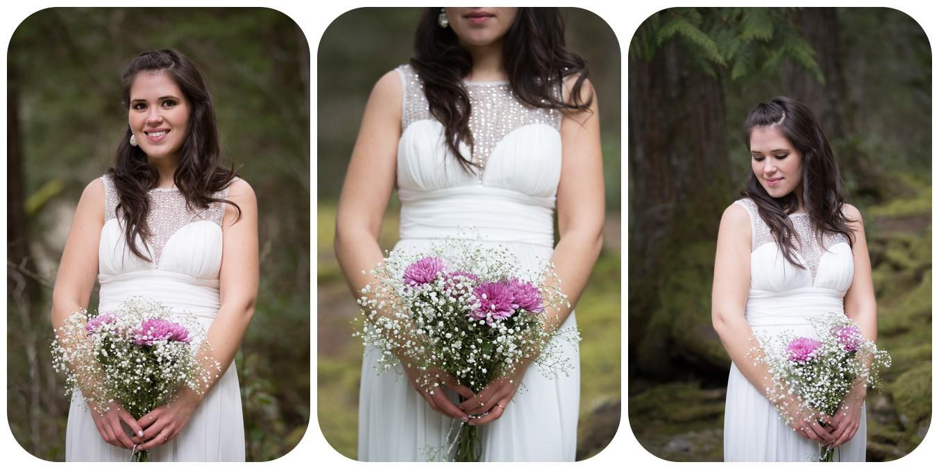 bridal portraits, bridal bouquet photos, englishman river falls elopement bridal portait, vancouver island bridal portrait photographer
