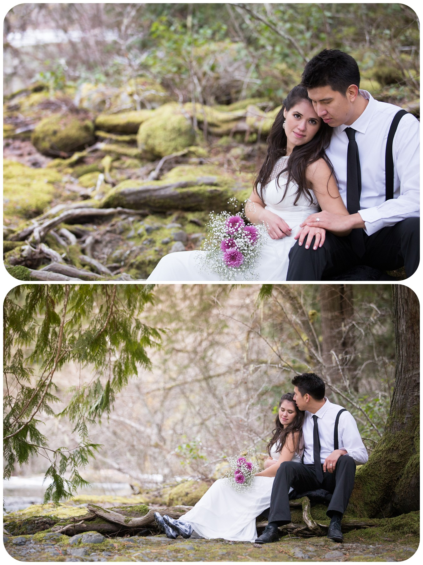 forest winter elopement at englishman river falls, forest portraits for bride and groom, sitting under big tree in forest, romantic wedding photographer parksville bc
