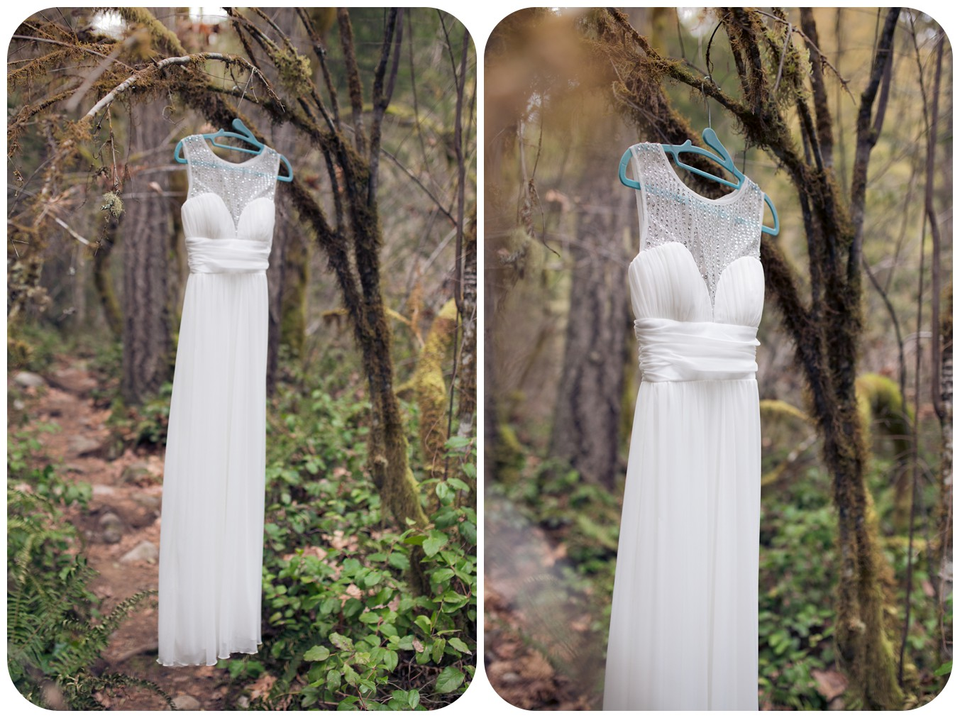 Whimsical wedding dress hanging in forest tree before elopement ceremony at Englishman River Falls in Parksville BC