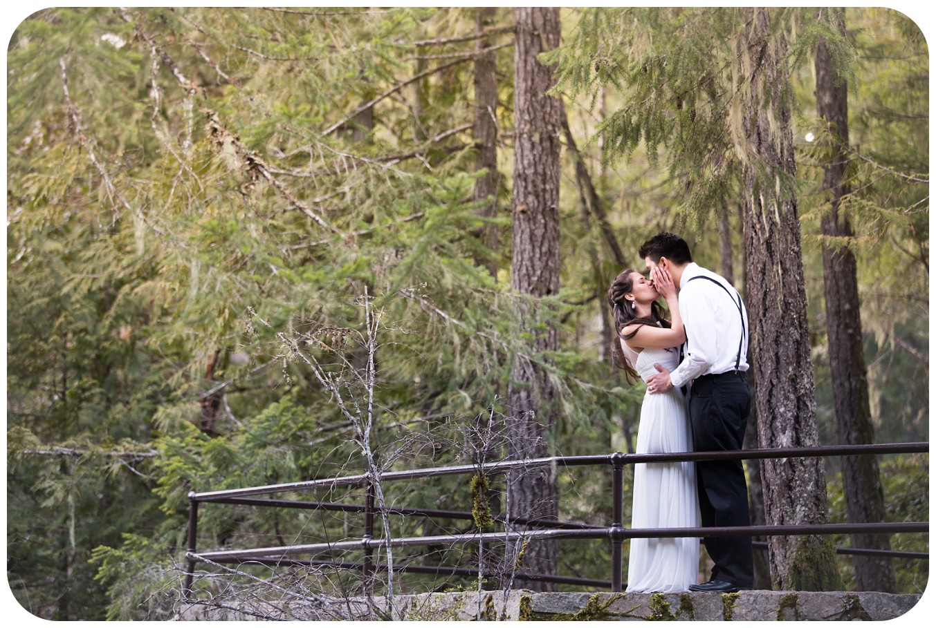 Fairytale wedding photos, Romantic couples portraits after elopement at Englishman River Falls in Parksville BC