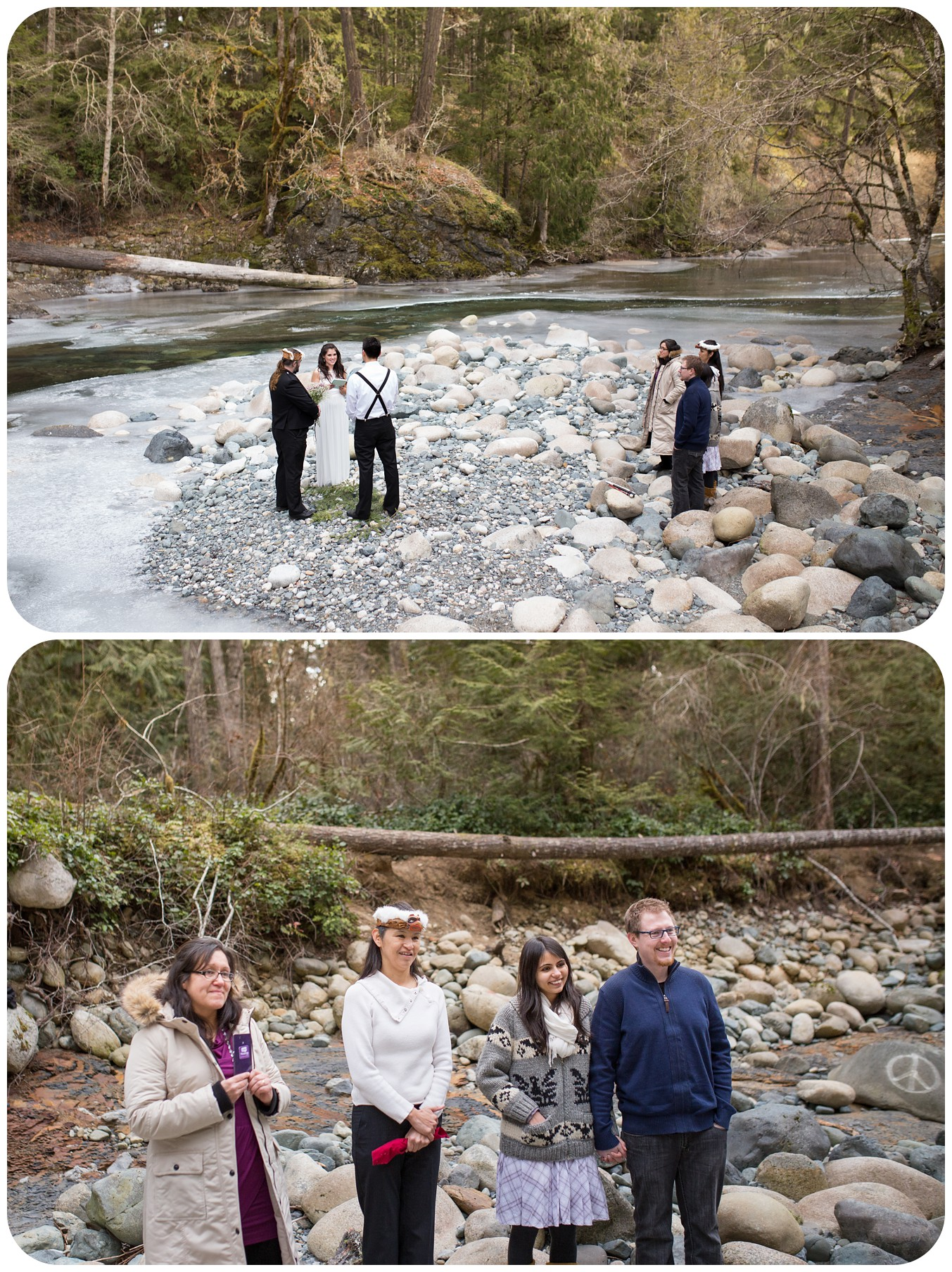 family watches beautiful elopement ceremony, englishman river falls wedding parksville bc photographer