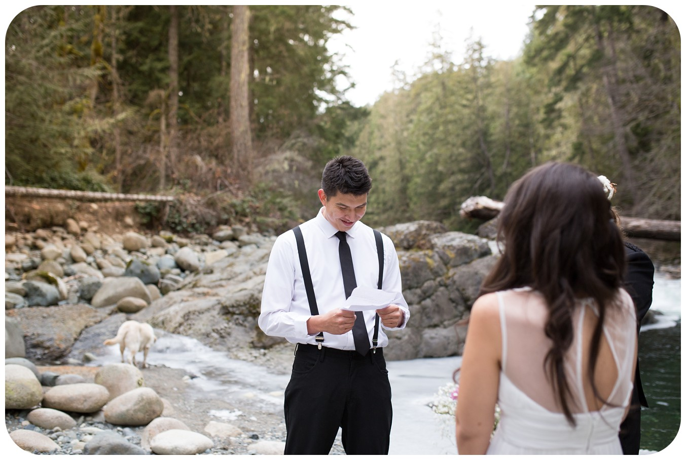 emotional groom during vows, englishman river elopement, vancouver island wedding photographer