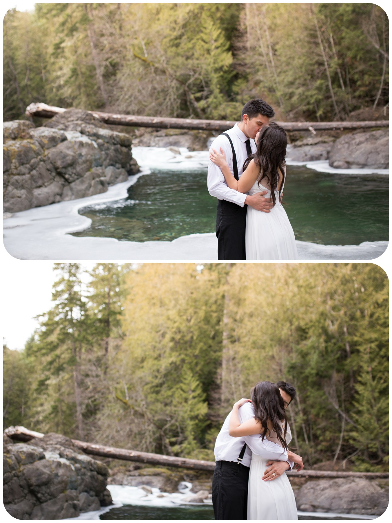 first kiss as bride and groom, riverside elopement photos, romantic elopement photos, vancouver island elopement photographer