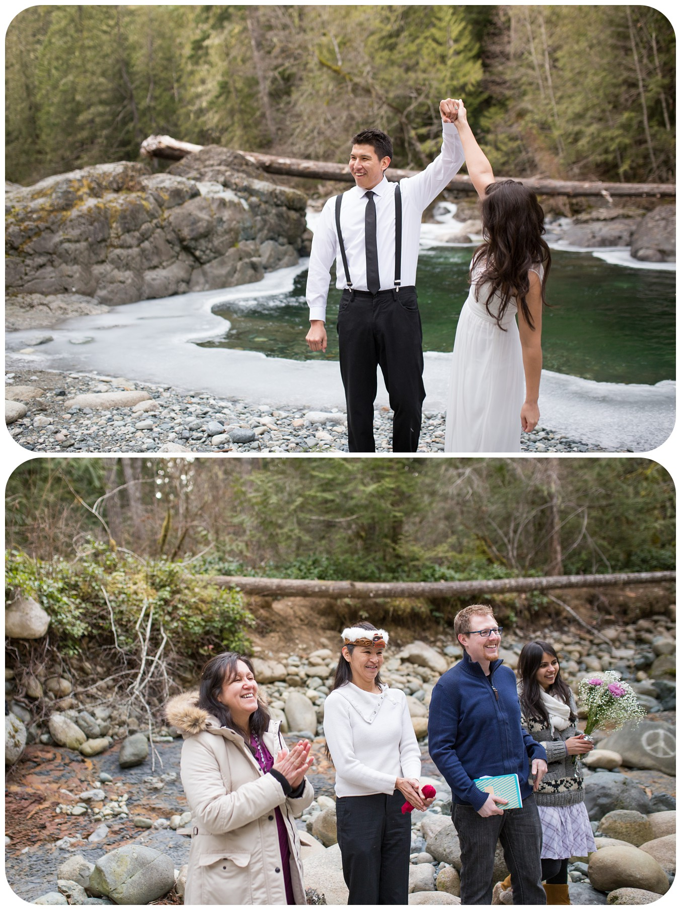 celebrating marriage, happy family at elopement, englishman river falls romantic elopement, vancouver island wedding photographer