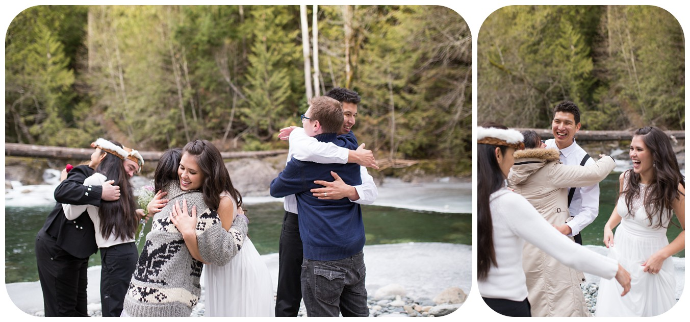 hugs to family members at elopement, vancouver island elopement photographer, whimsical weddings