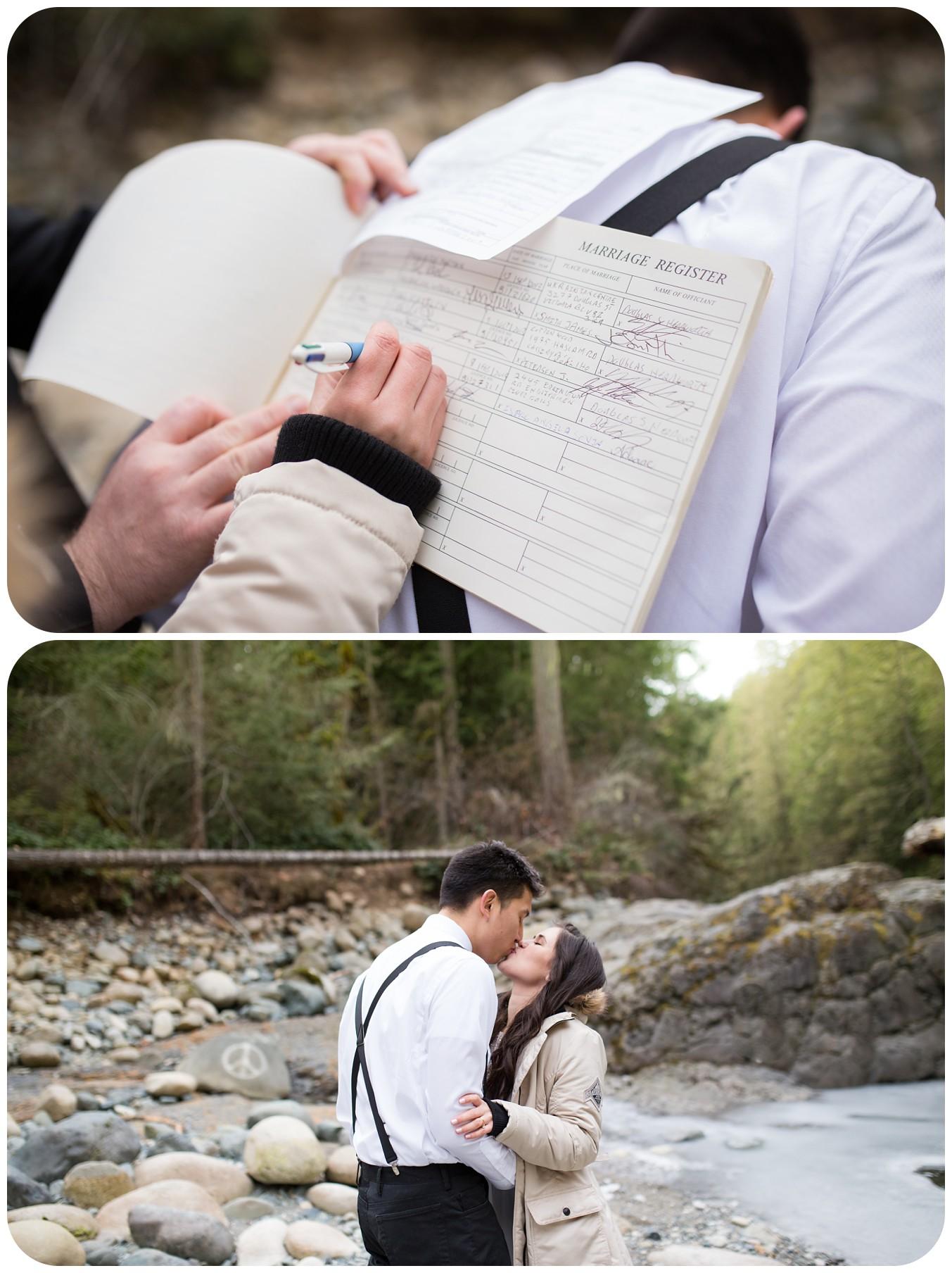 signing wedding register, outdoor riverside elopement, englishman river falls weddings, englishman river falls wedding photographer