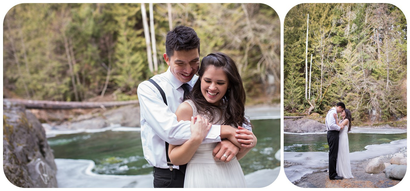fun bride and groom portraits, englishman river wedding portraits, vancouver island wedding photographer