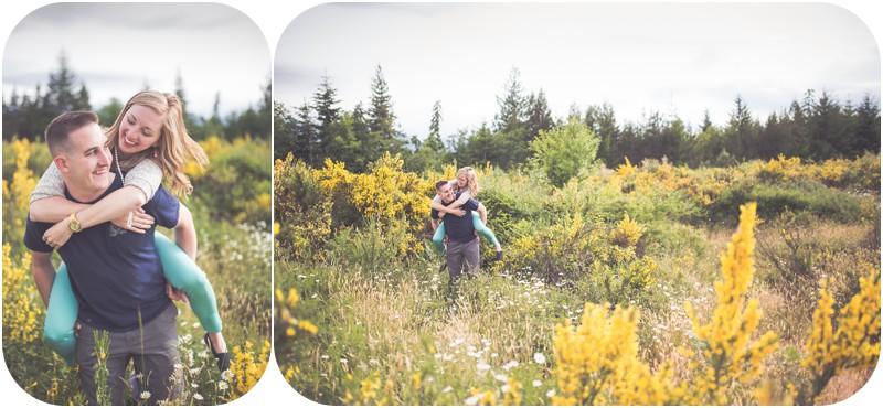 fun engagement photos, qualicum beach couples photographer, adventurous photographer vancouver island, couples portraits wildflower field qualicum beach
