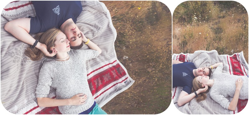 camping engagement session, camping couples portraits, couples laying on blanket, rustic engagement photographer bc, qualicum beach engagement photographer, spider lake engagement photos