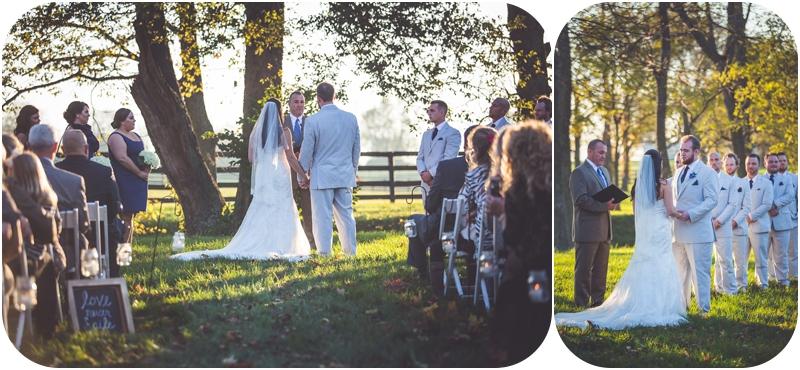 romantic sunset wedding ceremony on farm photos