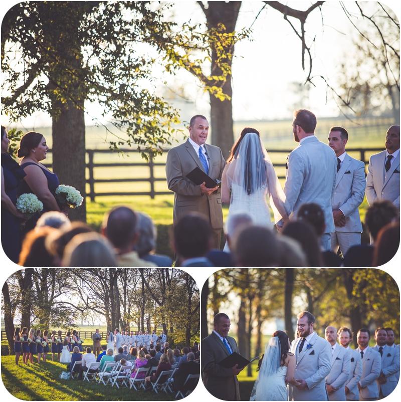 romantic golden hour wedding ceremony on lexington ky farm photos