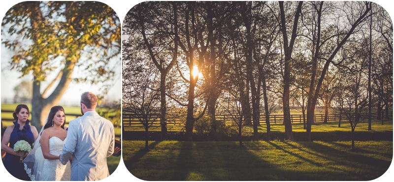 happy bride looking at groom while sun sets in trees at fasig tipton farm wedding