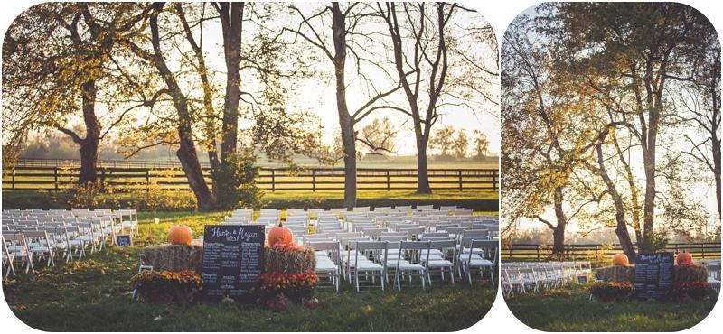 ceremony setup for lexington kentucky sunset farm wedding