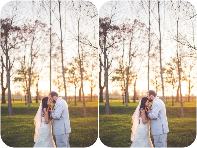 romantic sunset wedding photos at fasig tipton farm