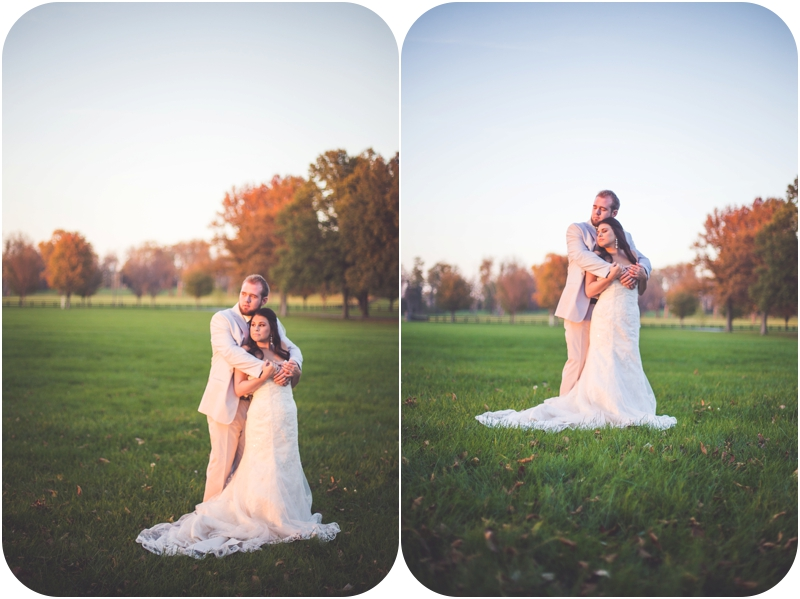 glowing bride and groom at sunset on wedding day photos, romantic autumn wedding photos