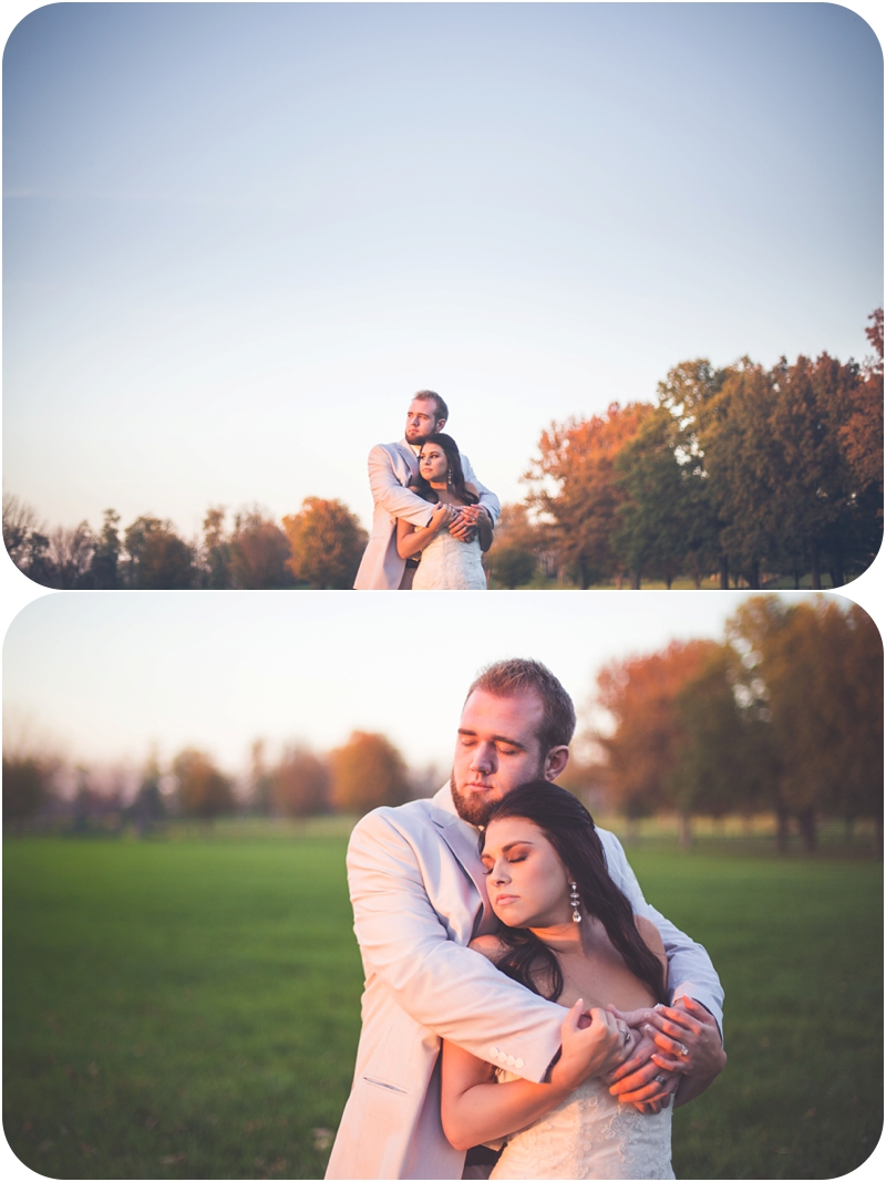 glowing bride and groom at sunset on wedding day photos, romantic autumn farm wedding photos