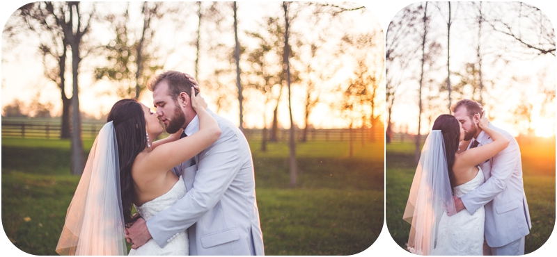 fasig tipton sunset wedding photos, kissing bride and groom