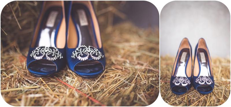 farm wedding details, something blue wedding shoes, wedding details on haybale photos, badgley mischka shoes