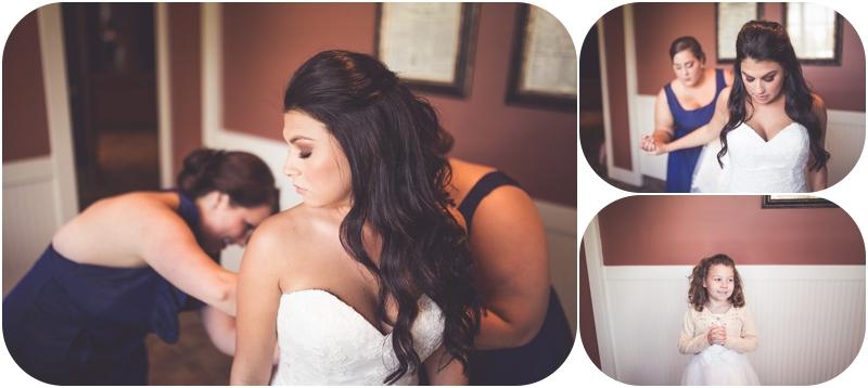 bride getting into wedding dress at fasig tipton wedding